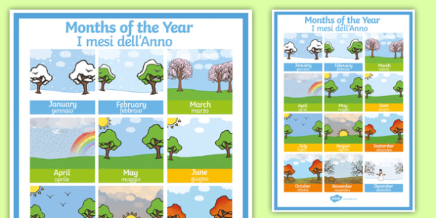 months of the year poster italian english months of the year