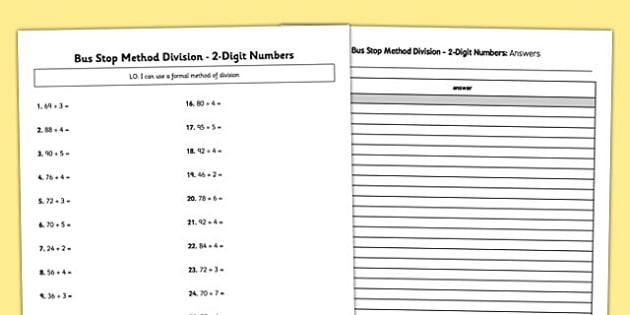 Bus Stop Method Formal Division of 2 Digit Numbers Activity Sheet - bus stop, method, formal division, 2 digit, numbers, worksheet