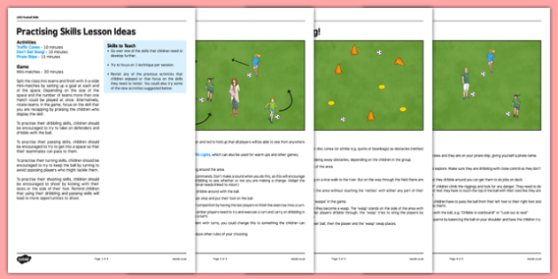LKS2 Football Skills 5: Practising Skills Lesson Pack - football, PE, sport, exercise, KS2, LKS2, Key Stage 2,  year 3, year 4, skills, physical education, ball skills, team sports