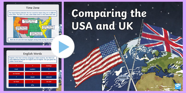 NEW * KS2 Comparing the USA and the UK PowerPoint - America