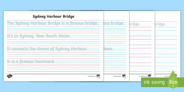 sydney harbour bridge year 2 handwriting practice activity sheet. Black Bedroom Furniture Sets. Home Design Ideas