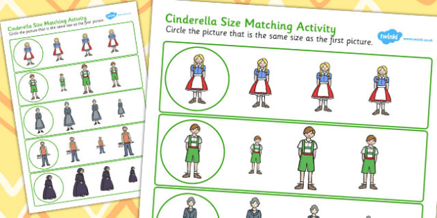 Hansel and Gretel Size Matching Worksheets - size, matching