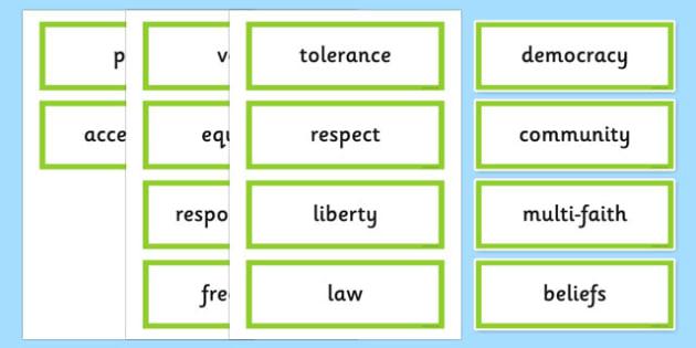 British Values Word Cards - british, values, word cards, cards