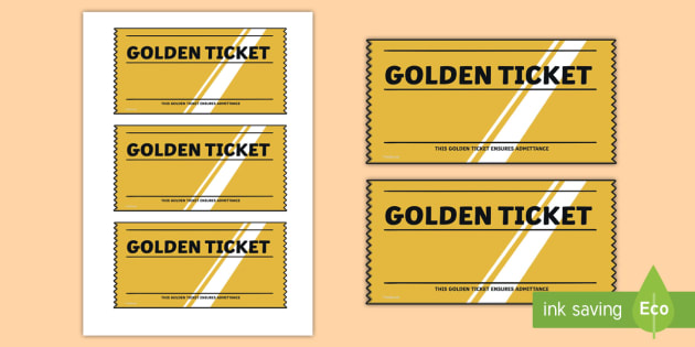 photo about Printable Golden Tickets named Golden Ticket Editable Crafting Template - Twinkl