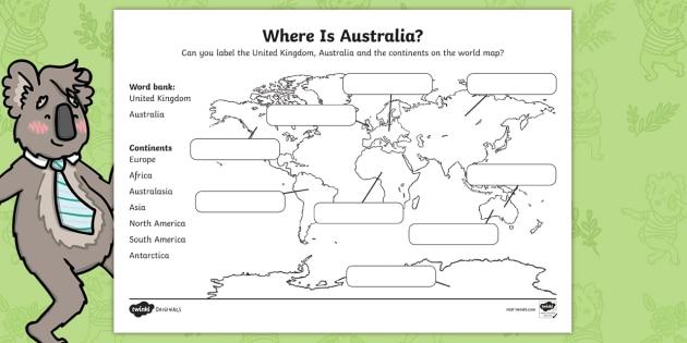 Australia Map Ks1.New Part Of The Party Where Is Australia Map Worksheet Originals