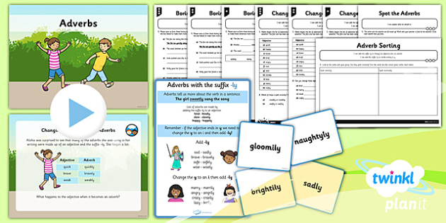 PlanIt Y2 SPaG Lesson Pack: Adverbs with ly - GPS, spelling, grammar, suffix, ly, adverbs