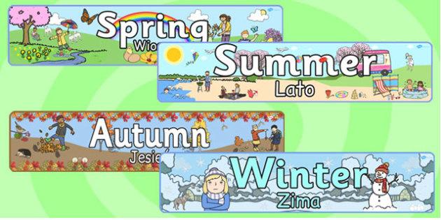 Four Seasons Banners Polish Translation - polish, four seasons, banners, display