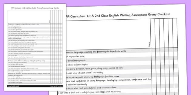 1999 Curriculum 1st & 2nd Class English Writing Assessment Group Checklist - Ireland, Irish, write