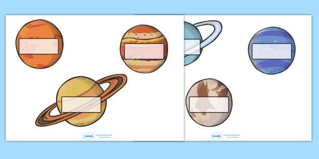 Editable Self Registration Labels (The Planets) - Self registration, register, editable, labels, registration, child name label, printable , moon, sun, earth, mars, neptune, pluto, uranus, jupiter, saturn