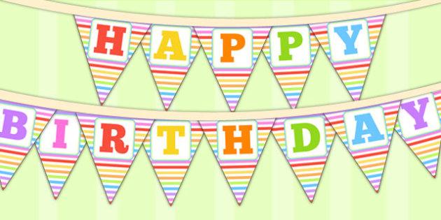 Rainbow Themed Happy Birthday Bunting - parties, birthdays