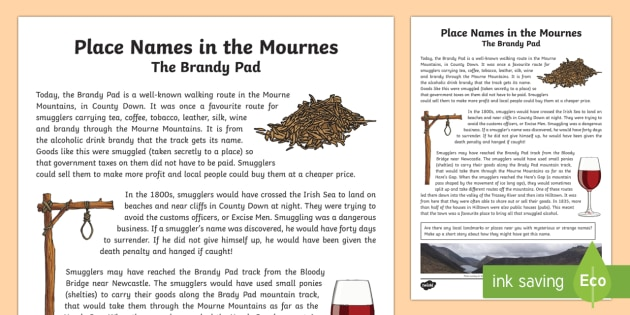 Place Names in the Mournes, The Brandy Pad Story - World Around Us, Mourne Mountains, local, legend, smugglers, smuggling, County Down, Northern Irelan