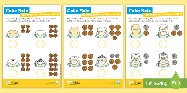 BBC Children in Need How Much Do the Cakes Cost? Cake Sale Worksheets