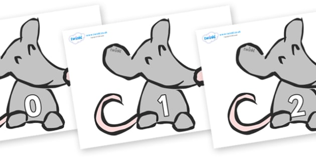 Numbers 0-100 on Mice - 0-100, foundation stage numeracy, Number recognition, Number flashcards, counting, number frieze, Display numbers, number posters