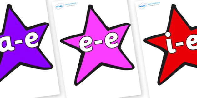 Modifying E Letters on Stars (Multicolour) - Modifying E, letters, modify, Phase 5, Phase five, alternative spellings for phonemes, DfES letters and Sounds