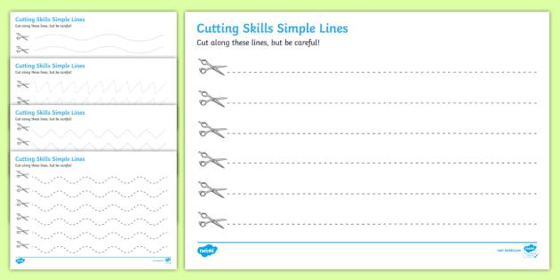 Cutting Skills Worksheets Lines Scissor Skills Cutting