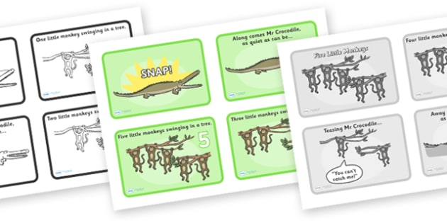 Five Little Monkeys Sequencing (4 per A4) - Five Little Monkeys, nursery rhyme, sequencing, rhyme, rhyming, nursery rhyme story, nursery rhymes, counting rhymes, taking away, subtraction, counting basckwards, Five Little Monkeys resources, one less t