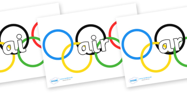 Phase 3 Phonemes on Olympic Rings - Phonemes, phoneme, Phase 3, Phase three, Foundation, Literacy, Letters and Sounds, DfES, display