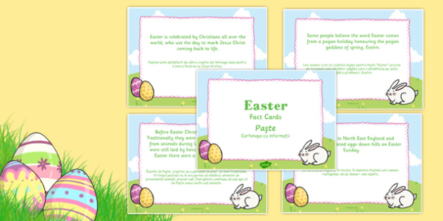 Easter Display Fact Cards Romanian Translation - romanian, easter, display, facts