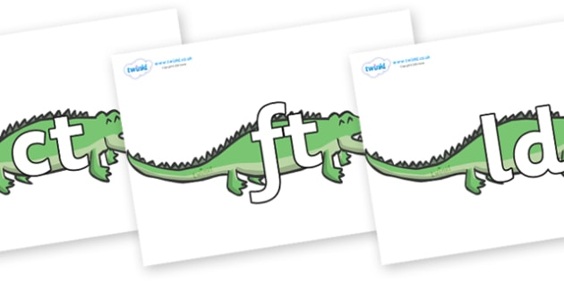 Final Letter Blends on Crocodiles - Final Letters, final letter, letter blend, letter blends, consonant, consonants, digraph, trigraph, literacy, alphabet, letters, foundation stage literacy