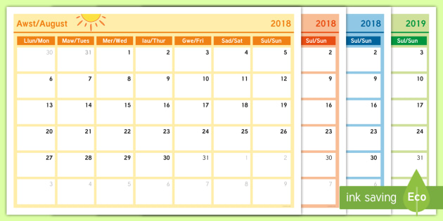 Academic Year Monthly Calendar Planning Template 2018 19