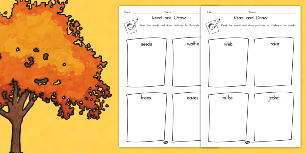 Autumn Read and Draw Worksheet - activities, games, seasons