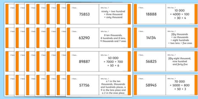 KS2 5 Digit Place Value Loop Cards