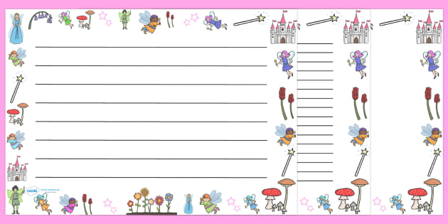 Fairy Full Page Borders (Landscape) - page border, border, frame, writing frame, fairy page borders, fairies, landscape fairy borders, fairy borders, fairy pages, writing template, writing aid, writing, A4 page, page edge, writing activities, lined p