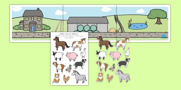 En la granja actividad de clasificar-Spanish