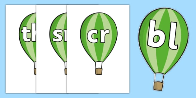 Phase 4 Blends and Clusters on Hot Air Balloons - phase, phonemes