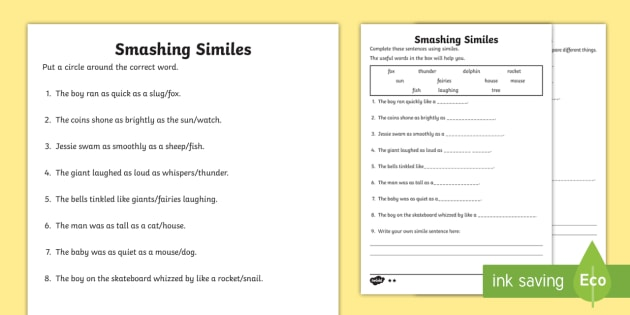 Ks1 Smashing Similes Differentiated Worksheet Activity Sheet