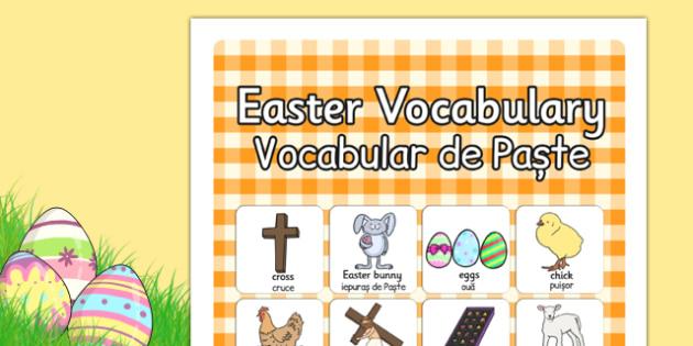 Easter Vocabulary Poster Romanian Translation - posters, season