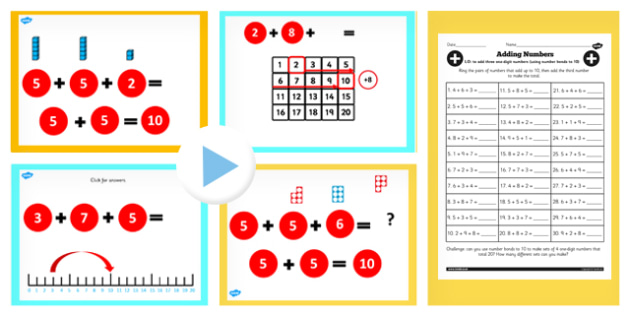 Year 2 Adding Three One Digit Numbers Lesson 1 Teaching Pack