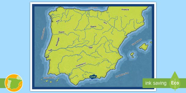 Poster Mapa De Los Principales Rios De Espana