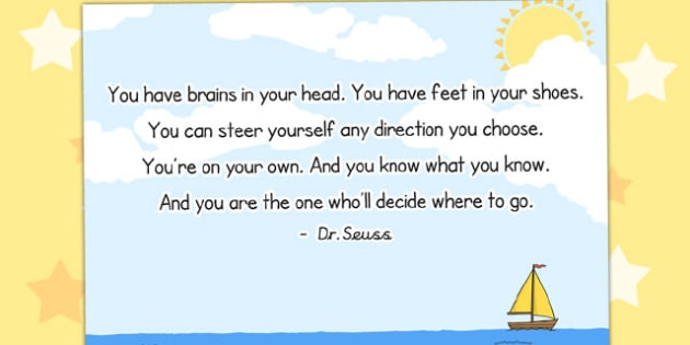 You Have Brains in Your Head Reading Quote Poster - poster, quote