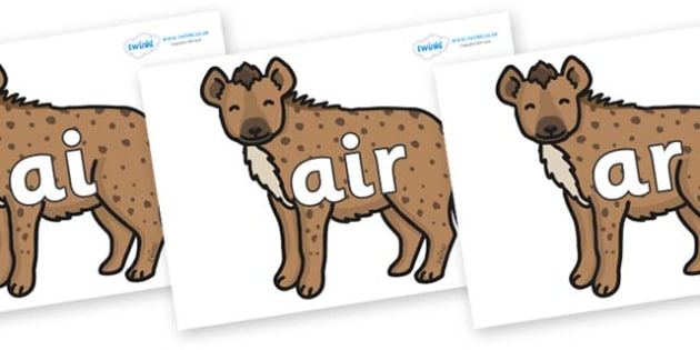 Phase 3 Phonemes on Hyenas - Phonemes, phoneme, Phase 3, Phase three, Foundation, Literacy, Letters and Sounds, DfES, display