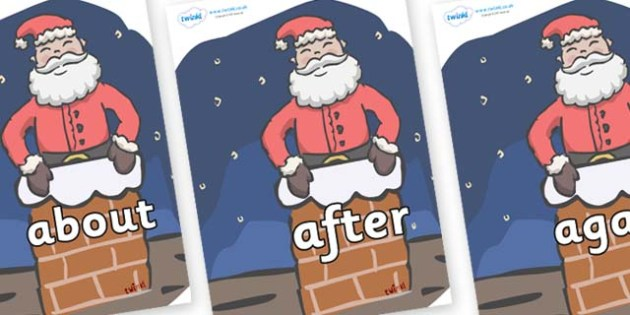 KS1 Keywords on Santa (Chimney) - KS1, CLL, Communication language and literacy, Display, Key words, high frequency words, foundation stage literacy, DfES Letters and Sounds, Letters and Sounds, spelling