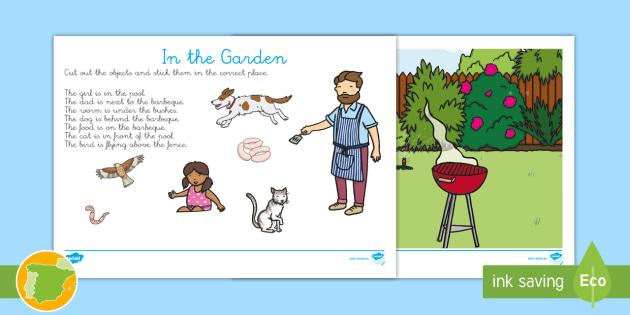 Im genes para recortar preposiciones de lugar en el jard n en - Cosas para el jardin ...