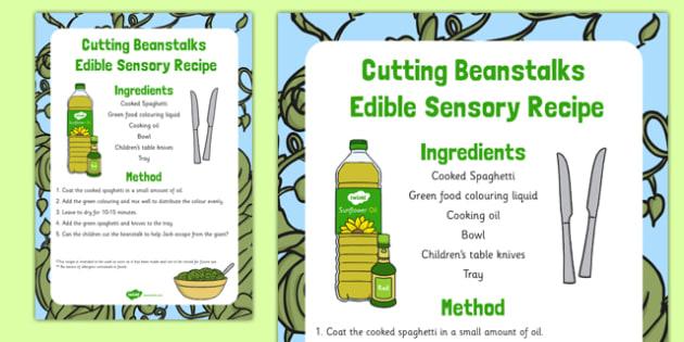 Cutting Beanstalks Edible Sensory Recipe - Cutting, spaghetti, Jack and the Beanstalk, messy play