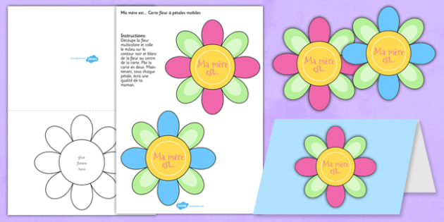 Australia Mother's Day Flap Flower Card Template - French