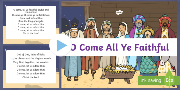O Come All Ye Faithful Christmas Carol Lyrics PowerPoint - carol, christmas carol, lyrics, o come all ye faithful