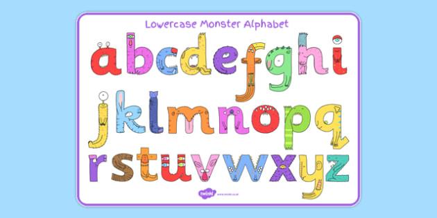 Lower-Case Monster Alphabet Image Mat - letters, formation