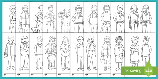 Community Helpers Emergent Reader Coloring Pages - Simple Fun for Kids | 315x630