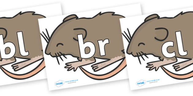 Initial Letter Blends on Mice - Initial Letters, initial letter, letter blend, letter blends, consonant, consonants, digraph, trigraph, literacy, alphabet, letters, foundation stage literacy