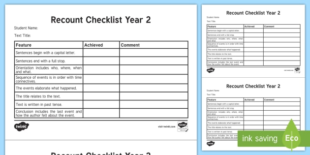 Year  Recount Checklist  English Curriculum Writing Creating