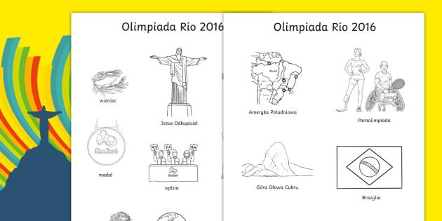 Kolorowanka ze słowami Olimpiada 2016