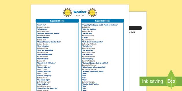 Weather Book List - EYFS, Early Years, sun, rain, wind, snow, storm, rainbow, fiction, non-fiction