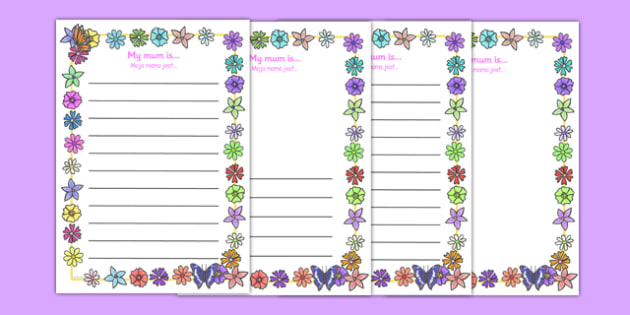 My Mum Is Page Borders Polish Translation - polish, Mother's day, my mum is, page border, border, writing template, writing aid, writing, Mother's day activity, Mother's day resource