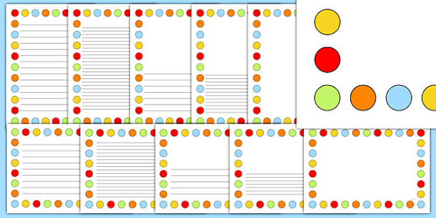 Multicoloured Polka Dot Page Borders - page borders, polka dot