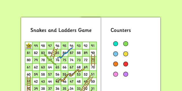 Snakes and Ladders Game (1-100, Editable) - snakes and ladders