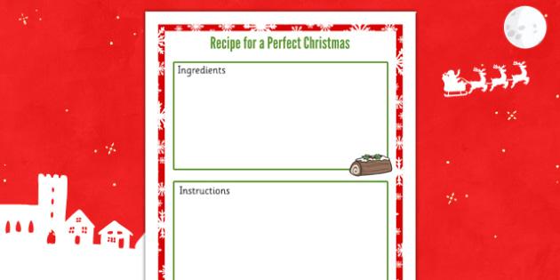 Recipe for a Perfect Christmas Sheet - recipe, christmas, sheet